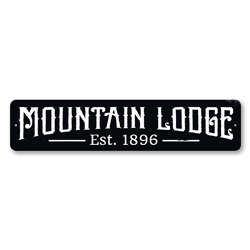 Mountain Lodge Established Date Sign, Personalized Ski Sign. Custom Ski Lodge Est Date Decor, Metal Ski Decor