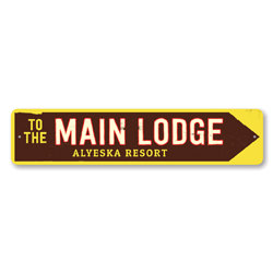 Main Lodge Sign, Personalized Ski Resort Sign, Ski Lodge Arrow Sign, Custom Ski Sign, Metal Ski Lodge Decor
