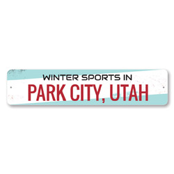 Winter Sports Sign, Personalized City State Sign, Custom Ski Location Sign, Metal Ski Lodge Decor, Ski Sign