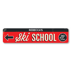 Ski School Sign, Personalized 25 Cent Lessons Sign, Custom Instructor Name Arrow Sign, Metal Ski Lodge Decor