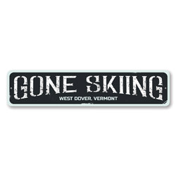 Gone Skiing Sign, Personalized Ski Location City State Sign, Custom Skiing Destination Sign, Ski Lodge Decor