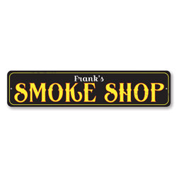 Smoke Shop Sign, Personalized Name Cigar Store Sign, Custom Cigar Lover Gift, Metal Cigar Smoker Man Cave Sign