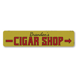 Cigar Shop Sign, Personalized Name Cigar Store Arrow Sign, Custom Cigar Lover Sign, Cigar Smoker Man Cave Sign