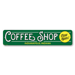 Coffee Shop Sign, Personalized Now Open Sign, Custom Barista Store Location City State Sign, Kitchen Decor