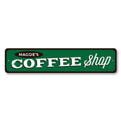 Coffee Shop Name Sign, Personalized Barista Sign, Coffee Lover Sign, Custom Java Metal Coffee Kitchen Decor