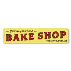 Neighborhood Bake Shop Sign, Personalized Family Name Place Sign, Custom Metal Baker Baking Kitchen Decor