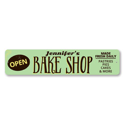 Bake Shop Open Sign, Personalized Bakery Store Name Sign, Custom Baker Made Fresh Daily Sign, Kitchen Decor