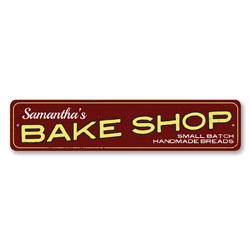 Bake Shop Sign, Personalized Small Batch Handmade Breads Sign, Custom Baker Name Sign, Bakery Kitchen Decor
