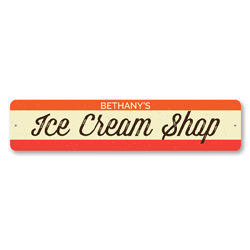 Ice Cream Shop Sign, Personalized Ice Cream Store Name Sign, Custom Metal Sweets Lover Decor, Kitchen Sign