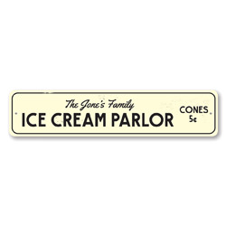 Ice Cream Parlor Sign, Personalized Cones 5 Cents Ice Cream Shop Sign, Custom Family Name Sign, Kitchen Sign