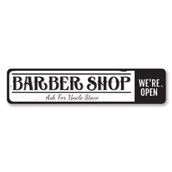 Barber Shop Sign, Personalized We're Open Sign, Custom Hairstylist Sign, Metal Hairdresser Barber Name Decor
