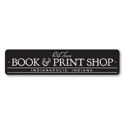 Book & Print Shop Sign, Personalized Old Town City State Shop Sign, Custom Book Lover Sign, Library Decor