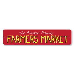 Family Farmers Market Sign, Personalized Family Name Sign, Custom Fresh Produce Sign, Metal Food Kitchen Sign