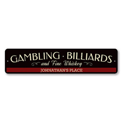 Gambling Billiards & Fine Whiskey Sign, Personalized Bartender Name Sign, Custom Beer Sign, Metal Bar Decor