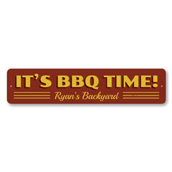 It's BBQ Time Sign, Personalized Backyard Grill Master Name Sign, Custom Metal Barbeque Lover Kitchen Sign