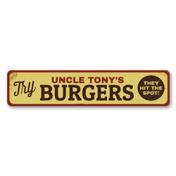 Try Burgers Sign, Personalized They Hit The Spot Sign, Custom Grill Master Name Kitchen Decor, Hamburger Sign