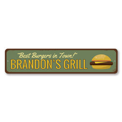 Best Burgers In Town Sign, Personalized Grill Master Name Sign, Custom Cheeseburger Lover Metal Kitchen Sign