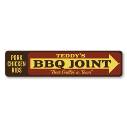 BBQ Joint Arrow Sign, Personalized Best Grillin' In Town Sign, Custom Pork Chicken Ribs Chef Name Kitchen Sign