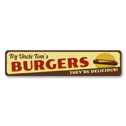 Burgers They're Delicious Sign, Personalized Cheeseburger Lover Sign, Custom Grill Master Name Kitchen Sign