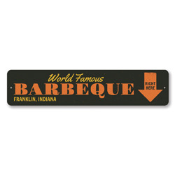 World Famous Barbeque Sign, Personalized Right Here Arrow Sign, Custom BBQ Location City State Kitchen Decor