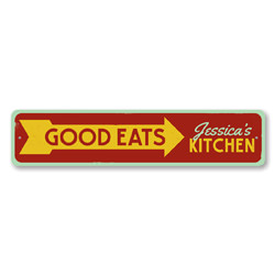Good Eats Sign, Personalized Cook Name Kitchen Decor, Custom Arrow Food Creations This Way Metal Chef Sign