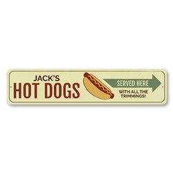 Hot Dogs Sign, Personalized Arrow Served Here With All The Toppings Food Decor, Grill Master Name Kitchen Sign