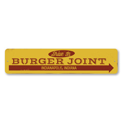 Drive In Burger Joint Sign, Personalized Hamburgers This Way Arrow Sign, Custom Food City State Kitchen Decor