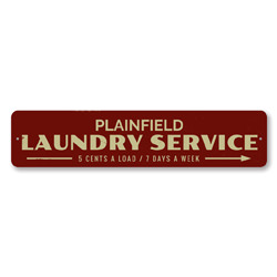 Laundry Service Arrow Sign, Personalized 5 Cents Load & 7 Days Week Sign, Custom Laundromat Location City Sign