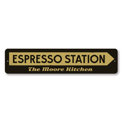 Espresso Station Sign, Personalized Arrow Java Coffee Lover Gift, Personalized Family Name Kitchen Decor