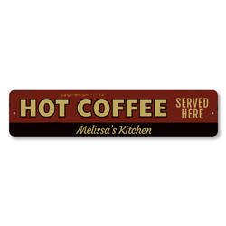 Hot Coffee Served Here Sign, Personalized Barista Name Kitchen Sign, Custom Coffee Lover Sign, Coffee Decor