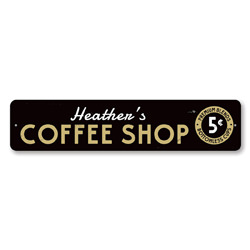Coffee Shop Sign, Personalized Premium Blends & Bottomless Cups 5 Cents Sign, Custom Barista Name Kitchen Sign