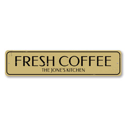 Fresh Coffee Sign, Personalized Family Name Kitchen Sign, Custom Coffee Lover Sign, Metal Coffee Bar Decor