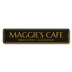 Cafe Sign, Personalized Fresh Coffee Good Food Sign, Custom Barista Chef Name Sign, Metal Cafe Kitchen Decor