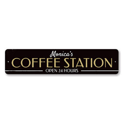 Coffee Station Sign, Personalized Open 24 Hours Java Kitchen Decor, Custom Barista Coffee Lover Name Gift