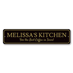 Best Coffee In Town Sign, Personalized Chef Barista Name Sign, Custom Kitchen Sign, Metal Coffee Bar Decor