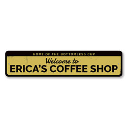 Welcome Coffee Shop Sign, Personalized Home Of Bottomless Cup Sign, Custom Coffee Bar Name Metal Kitchen Decor