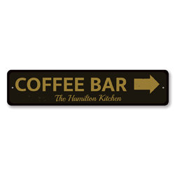 Coffee Bar Directional Arrow Sign, Personalized Family Name Kitchen Sign, Coffee Lover Decor, Coffee Shop Sign