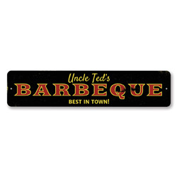 Barbeque Best In Town Sign, Personalized Grill Master Name Sign, Custom BBQ Lover Name Gift, Kitchen Decor