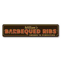 Barbequed Ribs Sign, Personalized Smoked To Perfection Sign, Custom BBQ Sign, BBQ Decor, Name Kitchen Sign