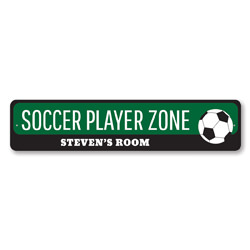 Soccer Player Zone Sign, Personalized Soccer Lover Kid Bedroom Sign, Custom Soccer Ball Child Name Room Decor