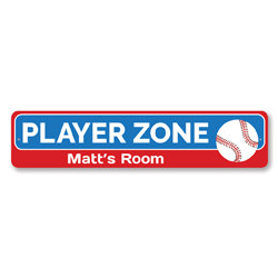 Baseball Player Zone Sign, Personalized Baseball Lover Kid Name Bedroom Sign, Custom Sport Child Playroom Sign