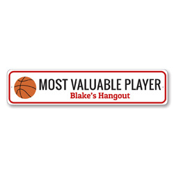 MVP Basketball Sign, Personalized Kid Room Hangout Sign, Custom Basketball Lover Most Valuable Player Sign