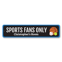 Sports Fans Only Sign, Custom Kid Name Room Sign, Personalized Basketball Tennis Baseball Lover Metal Sign