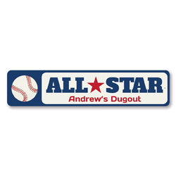 All Star Sign, Personalized Kid Name Sign, Baseball Team Dugout Decor, Custom Metal Sports Baseball Lover Sign