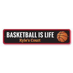 Basketball Is Life Sign, Custom Kid Name Bedroom Sign, Personalized Basketball Court Sports Kid Room Decor