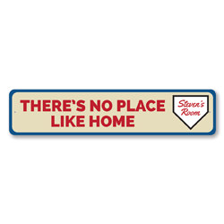 There's No Place Like Home Sign, Personalized Baseball Home Plate Sign, Custom Kid Name Sports Room Decor