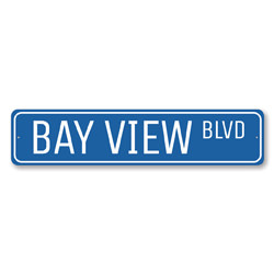 Bay View Blvd Sign, Beach Street Sign, Ocean Lover Gift, Beach House Decor, Metal Sea Home Decorations