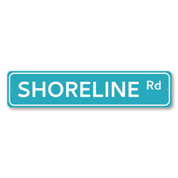 Shoreline Rd Sign, Beach Street Sign, Ocean Lover Gift, Beach House Decor, Metal Sea Home Decorations