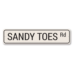 Sandy Toes Rd Sign, Beach Street Sign, Ocean Lover Gift, Beach House Decor, Metal Sea Home Decoration
