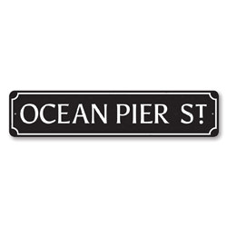 Ocean Pier St Sign, Beach Street Sign, Ocean Lover Gift, Beach House Decor, Metal Sea Home Decoration